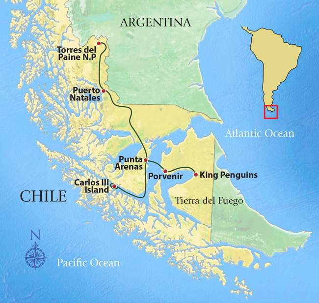 Map of Tierra del Fuego amp Patagonia Chile Argentina  ITM