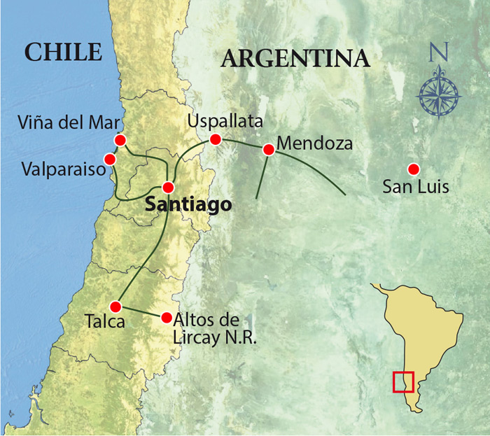 Birds & Wines of Chile & Argentina Trip Map