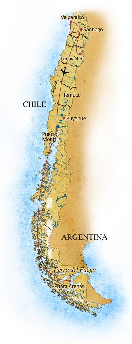 Birding Chile Trip Map