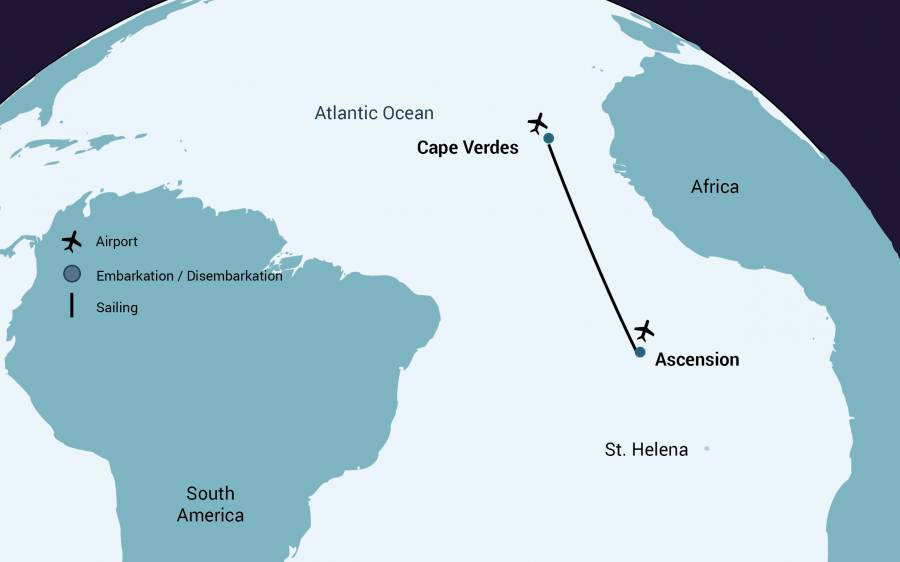 Ascension to Cape Verde Expedition Trip Map - Days 28 (Ascension Island) to 34 (Praia, Cape Verde)
