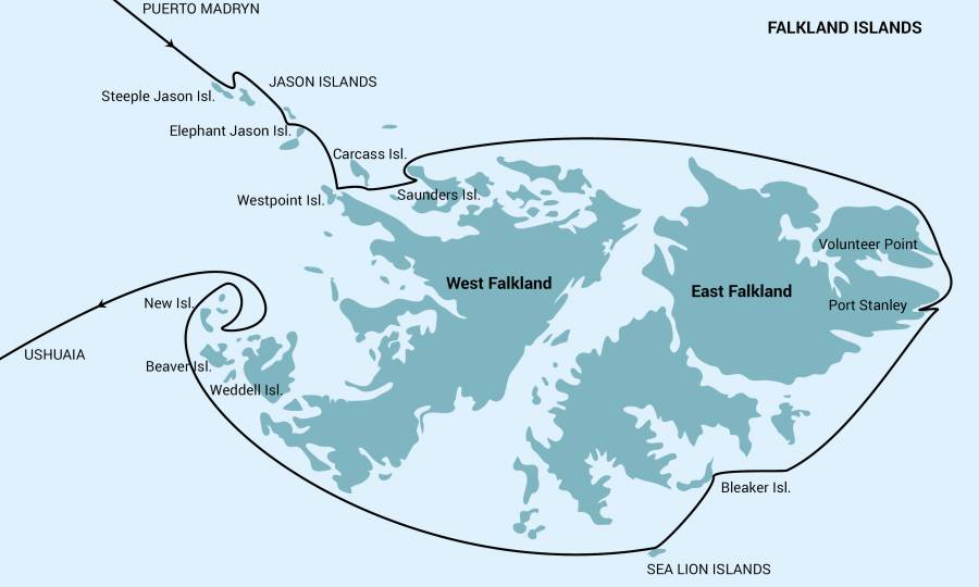 Falkland Islands Exclusive Trip Map