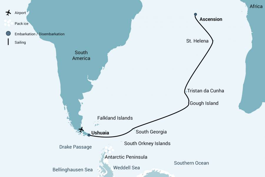 Atlantic Oddyssey Trip Map - Days 1 (Ushuaia) to 28 (Ascension Island)