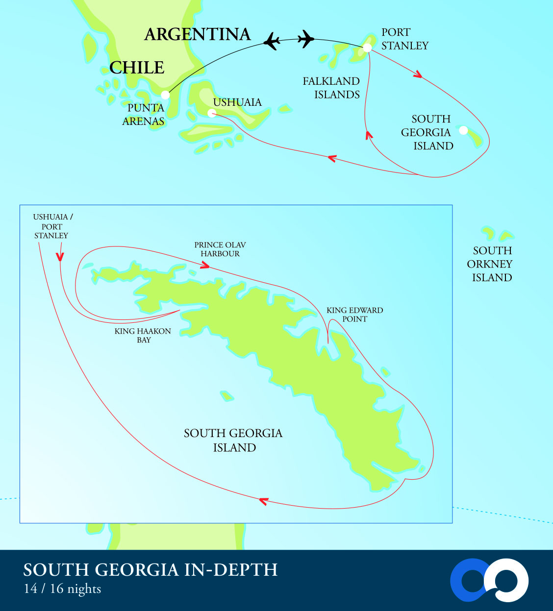 OO Map Faulkland Isl South Georgia | Far South Expeditions